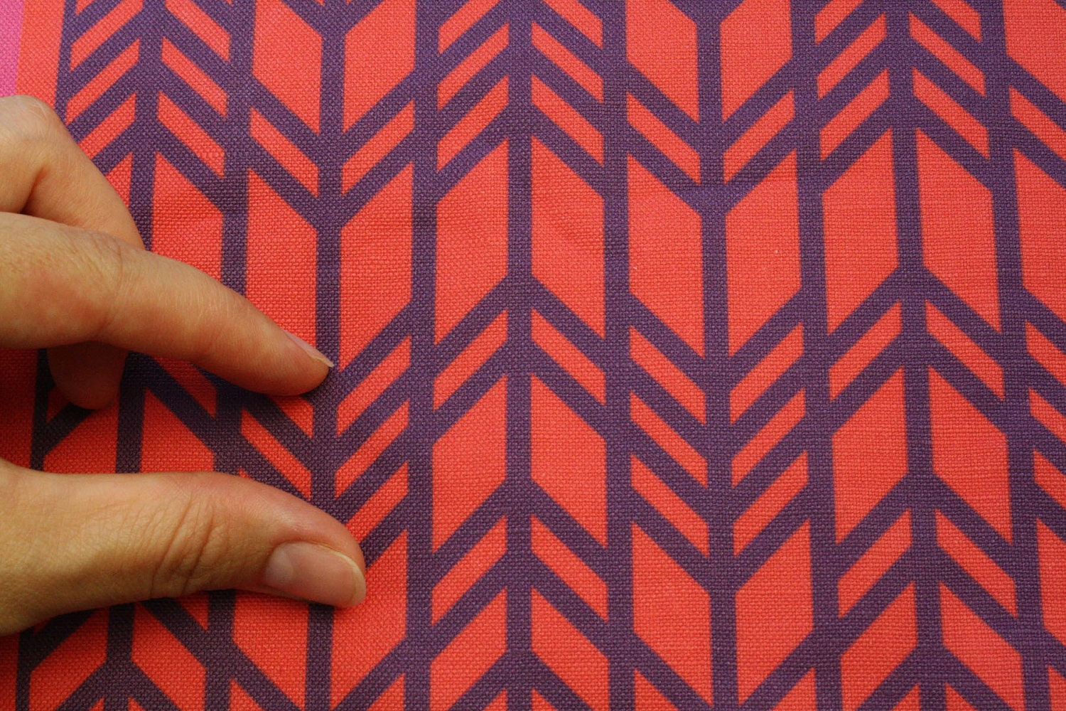 Home Decor Geometric Fabric Red and Plum Retro by