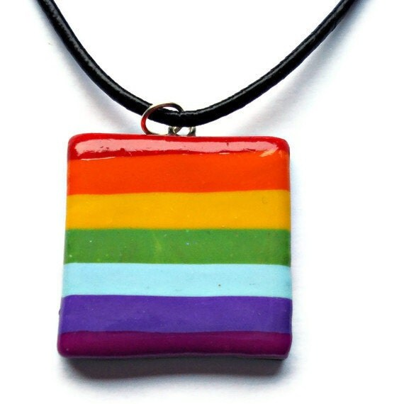 Polymer clay jewelry  Rainbow colored pendant by KireinaJewellery |  Craft Juice