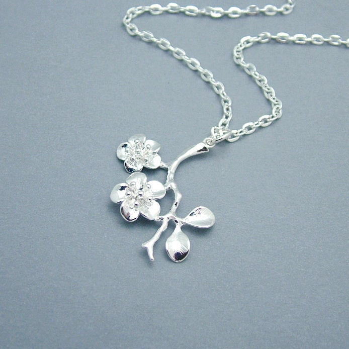 silver cherry blossom necklace cherry by roseandravenboutique