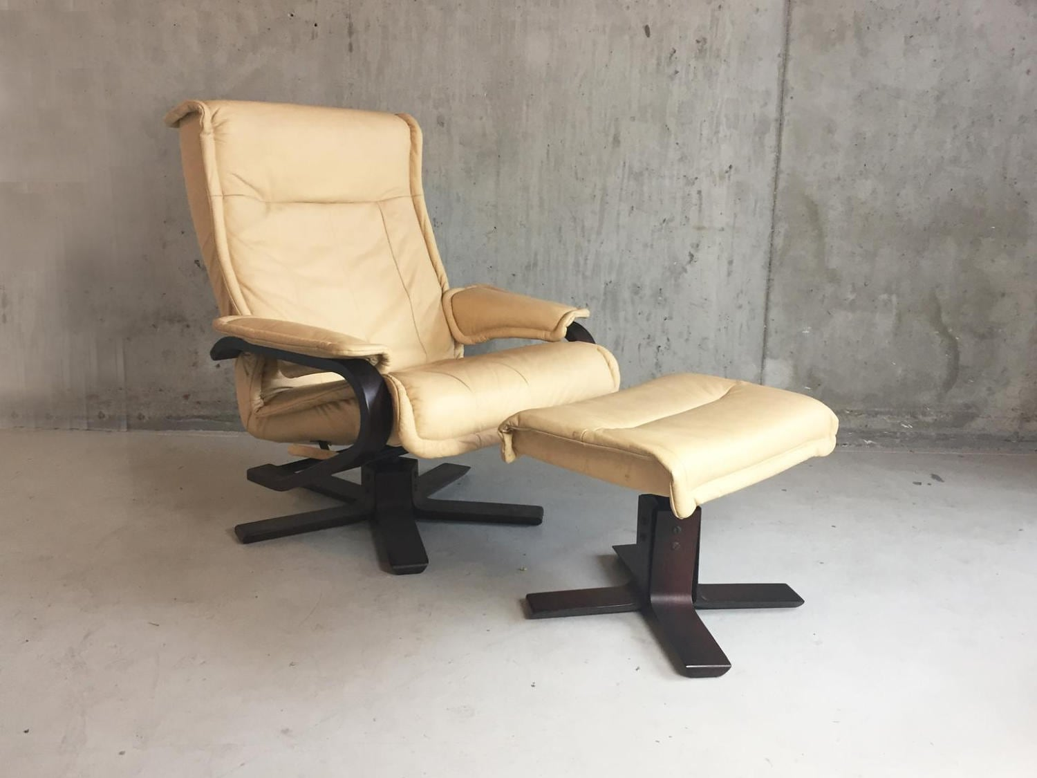 1970s mid century Norwegian leather reclining armchair and footstool