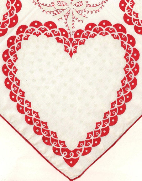 Valentine Valentines Hankie Handkerchief Red and White Hearts - OnTheBlvdVintage