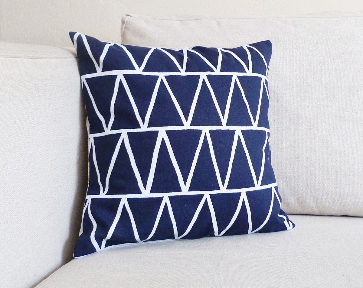 Dark Blue Triangles Linen Pillow - 13 x 13 in. - cottonandflaxshop