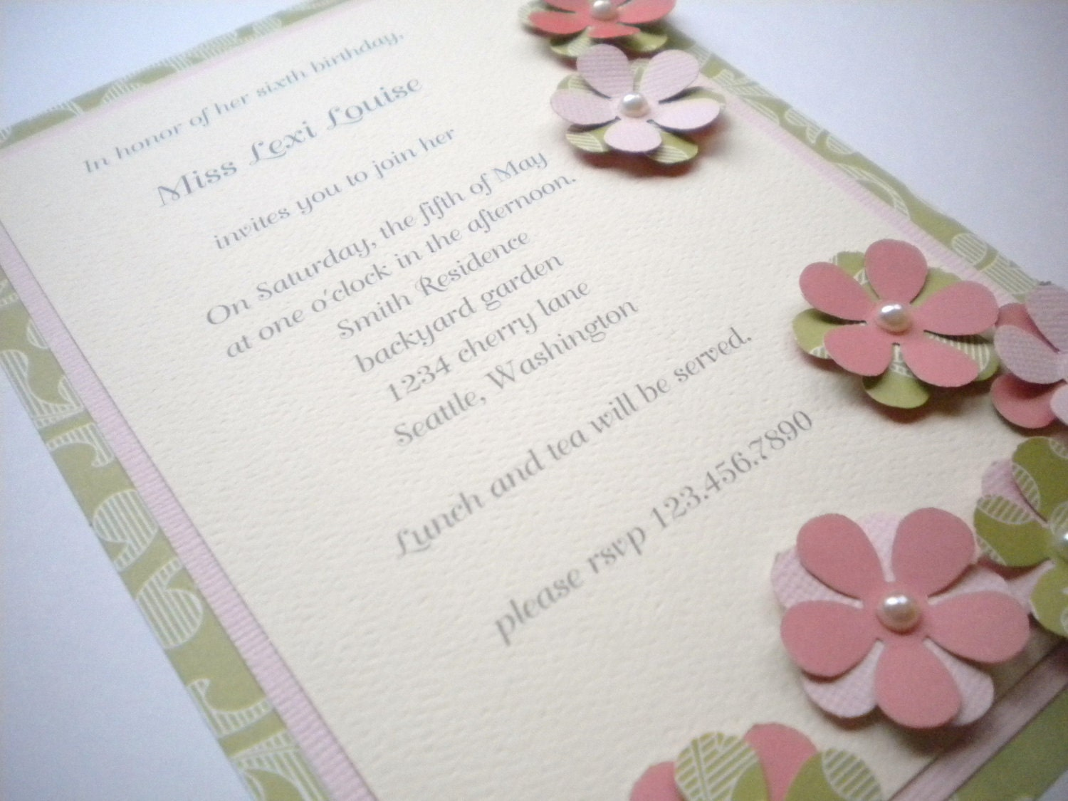 Invitation - Garden party - choose your colors - set of 10 - LouTinenEvents