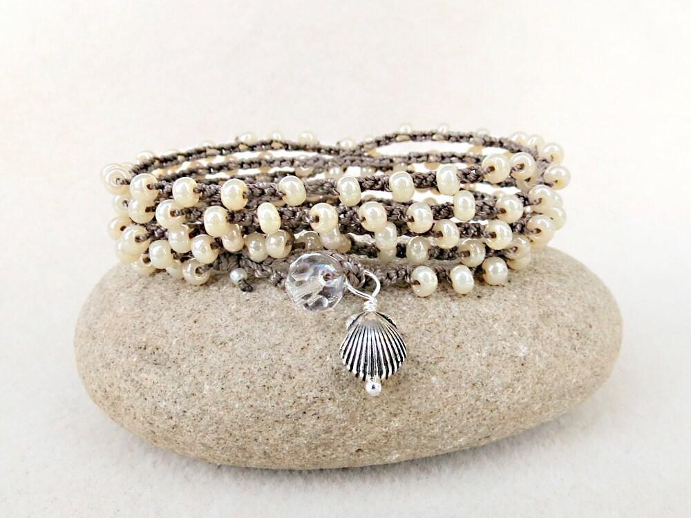Sandy Beach Crochet Wrap Boho Bracelet or Necklace in Glass Pearl Seed Bead, Hand Crochet Jewelry by Creative Gypsy on Etsy