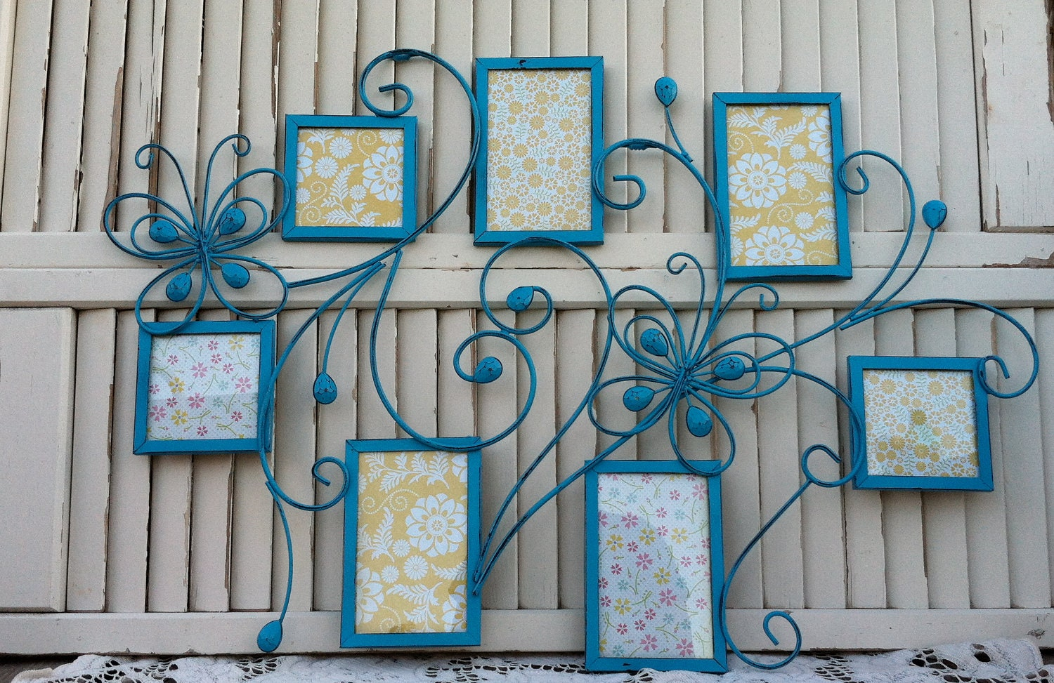 """Large Aqua Frame Collage with Butterflies...Hanging / 30"""" / Country ..."""