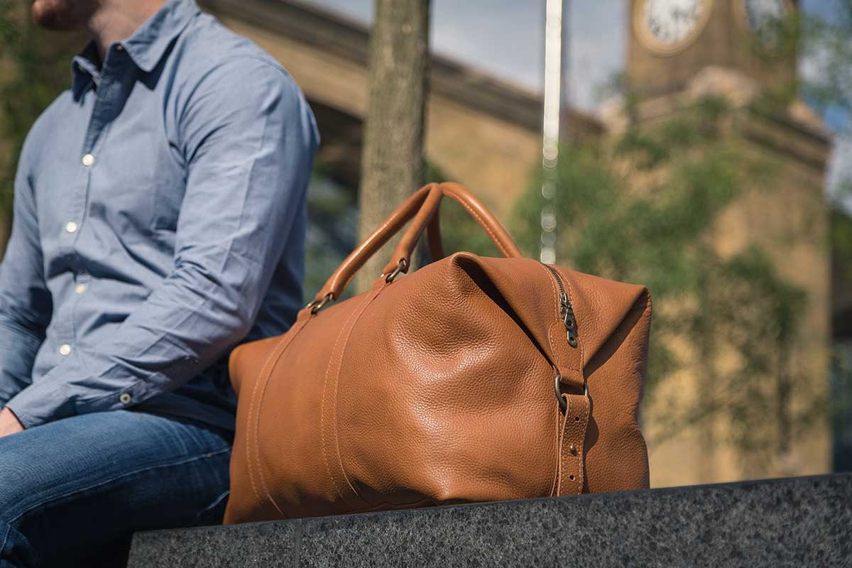 Real Leather Duffle  Duffel Bag by Fox Archer  Caramel Tan Leather Duffle Weekend Holdall Travel Gym Bag