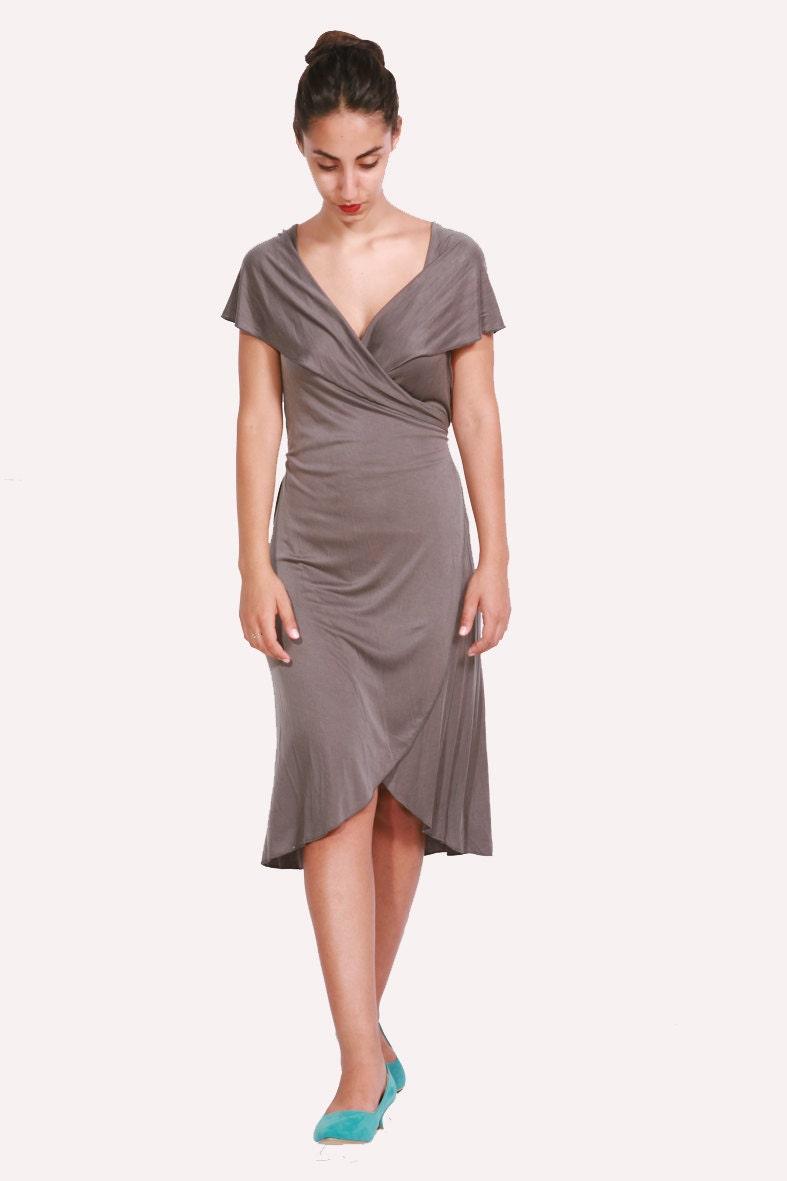 gray wrap dress// Summer sexy dress// Cupro wrap dress// Sleeveless gray dress - dragonflyhm