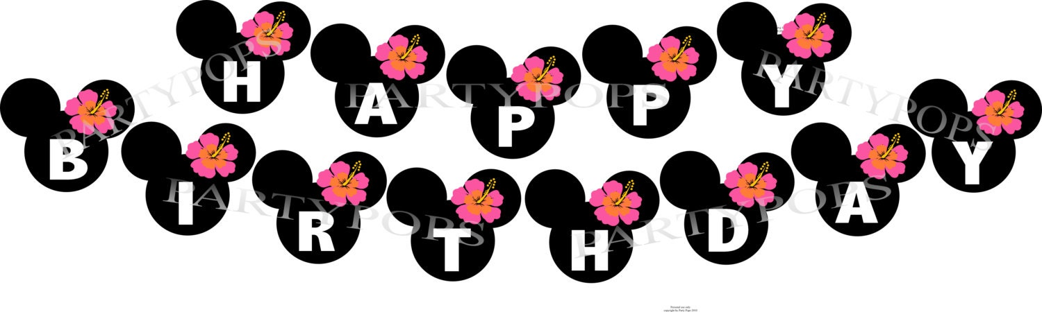 DIY Digital Minnie Mouse Luau Printable Party Banner