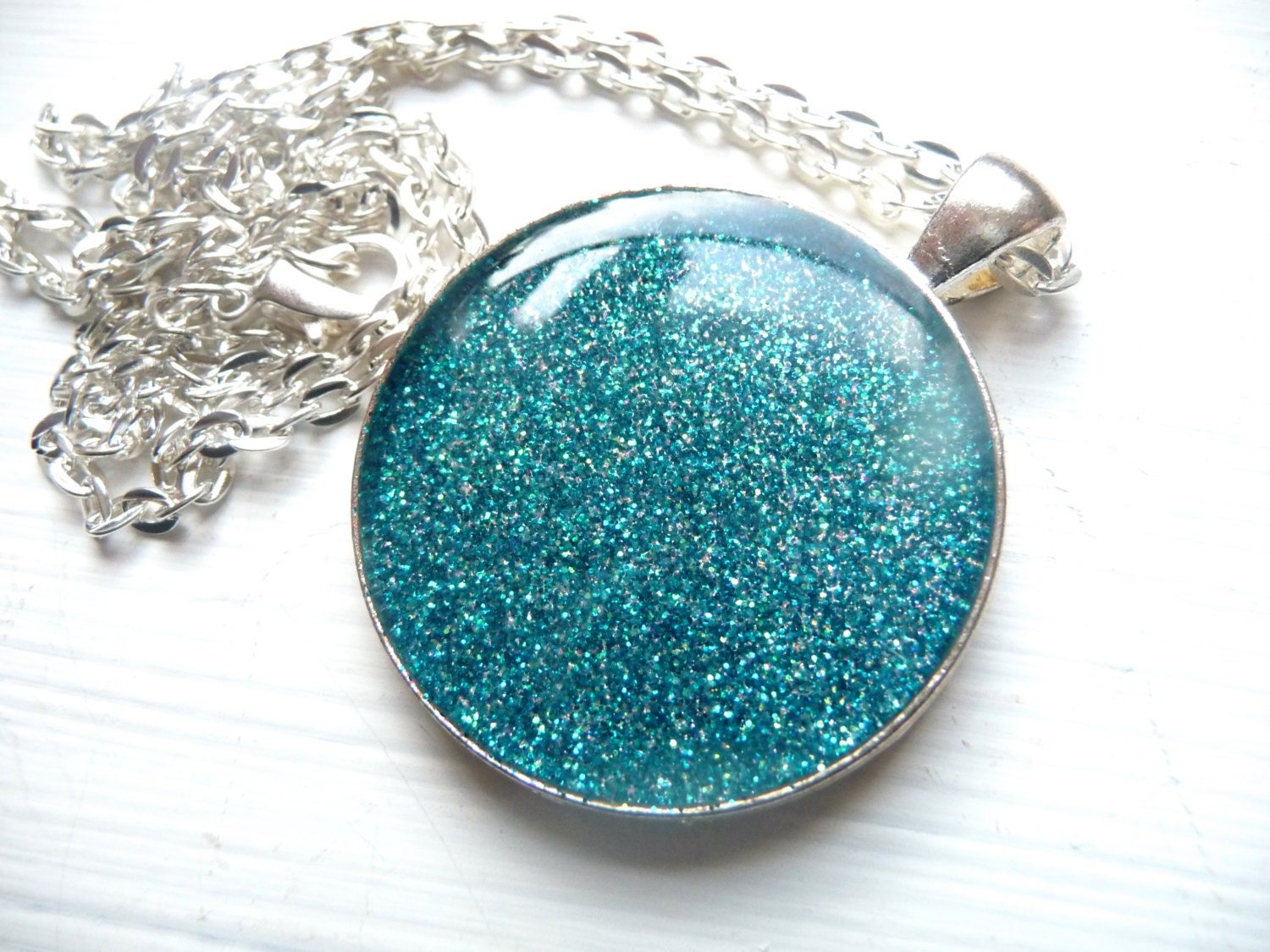 Blue Teal Glitter Resin Pendant on 24 inch Silver Chain - Mylana