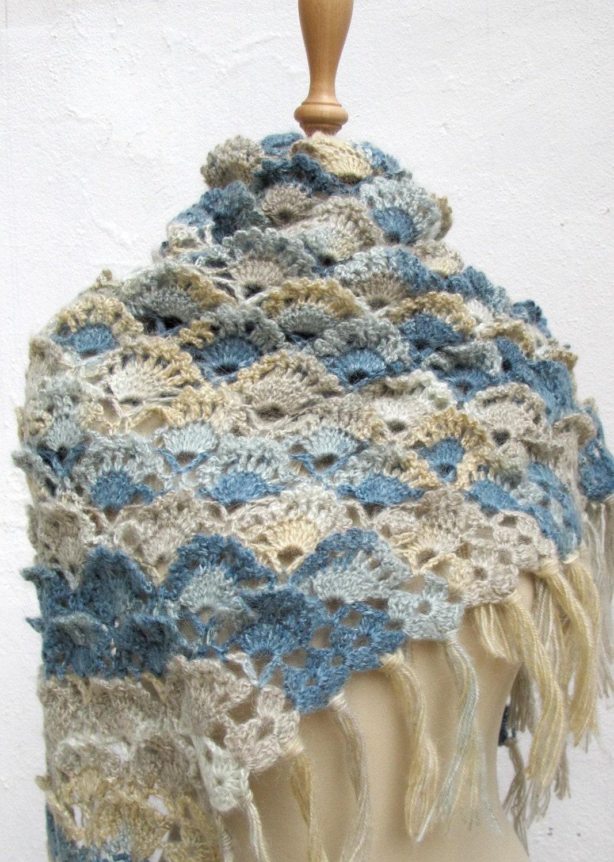 Knit Crochet Scarf Grey Teal Wrap Shawl with Flower by ixela