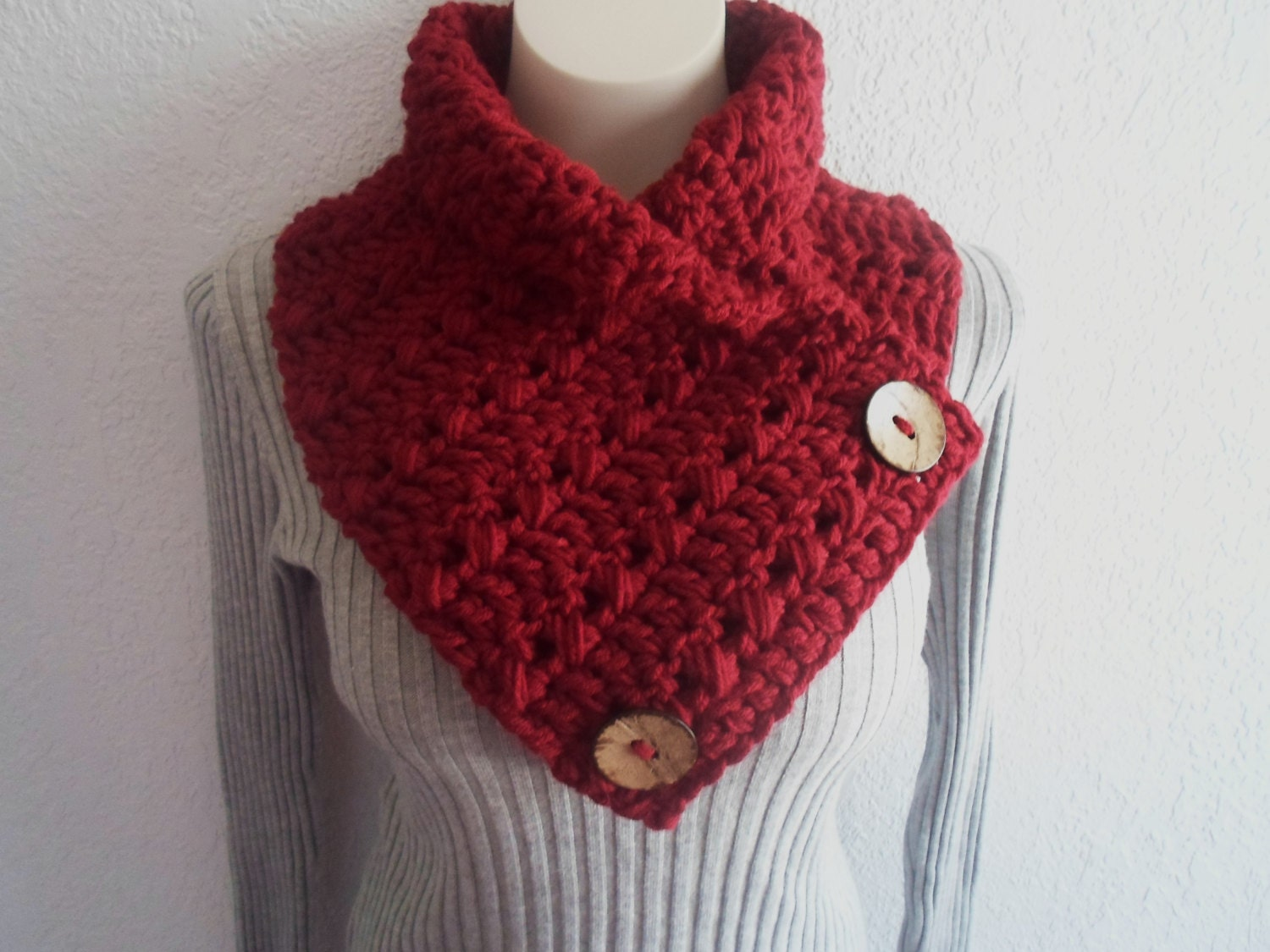 Cranberry Dark Ruby Red Chunky Crochet Cowl Neckwarmer Scarf with Wood Buttons, Ready to Ship