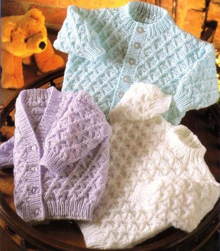 Vintage Knitting Pattern for Baby v neck & round by NewBabySoon