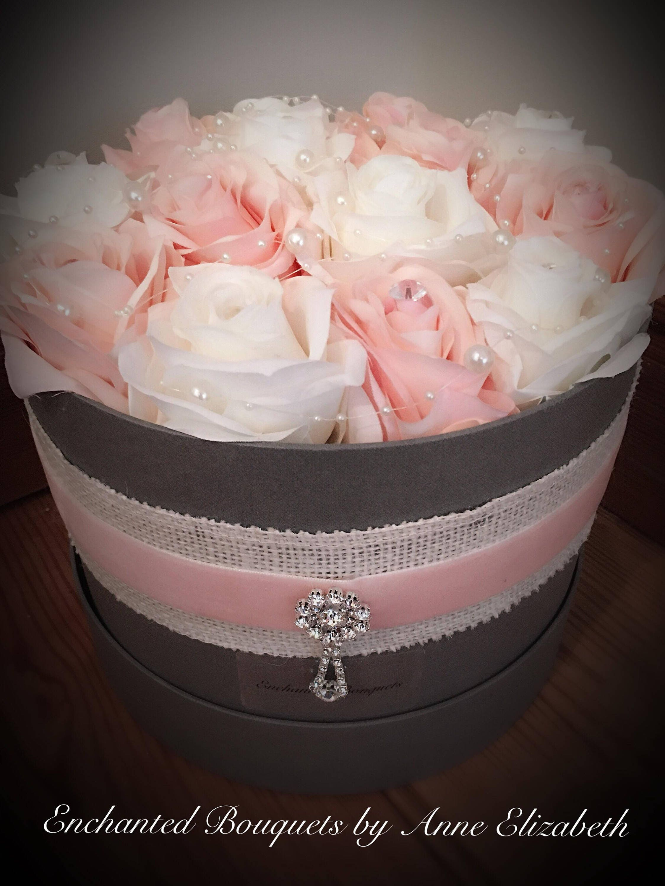 Image of Everlasting Rose Hat Box Mothers day/ Valentines gift/ house warming Blush Ivory Silk Roses.