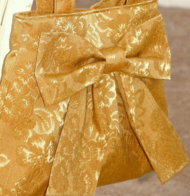 Deep Gold / Mustard Bow Bag / Purse with Double Handles