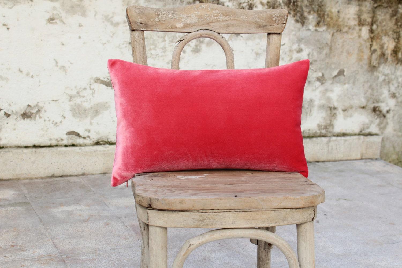 """Coral silk velvet lumbar pillow cover 12"""" x 20"""" - originalboutique"""