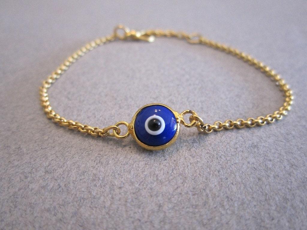 evil eye bracelet dark blue gold plated chain by