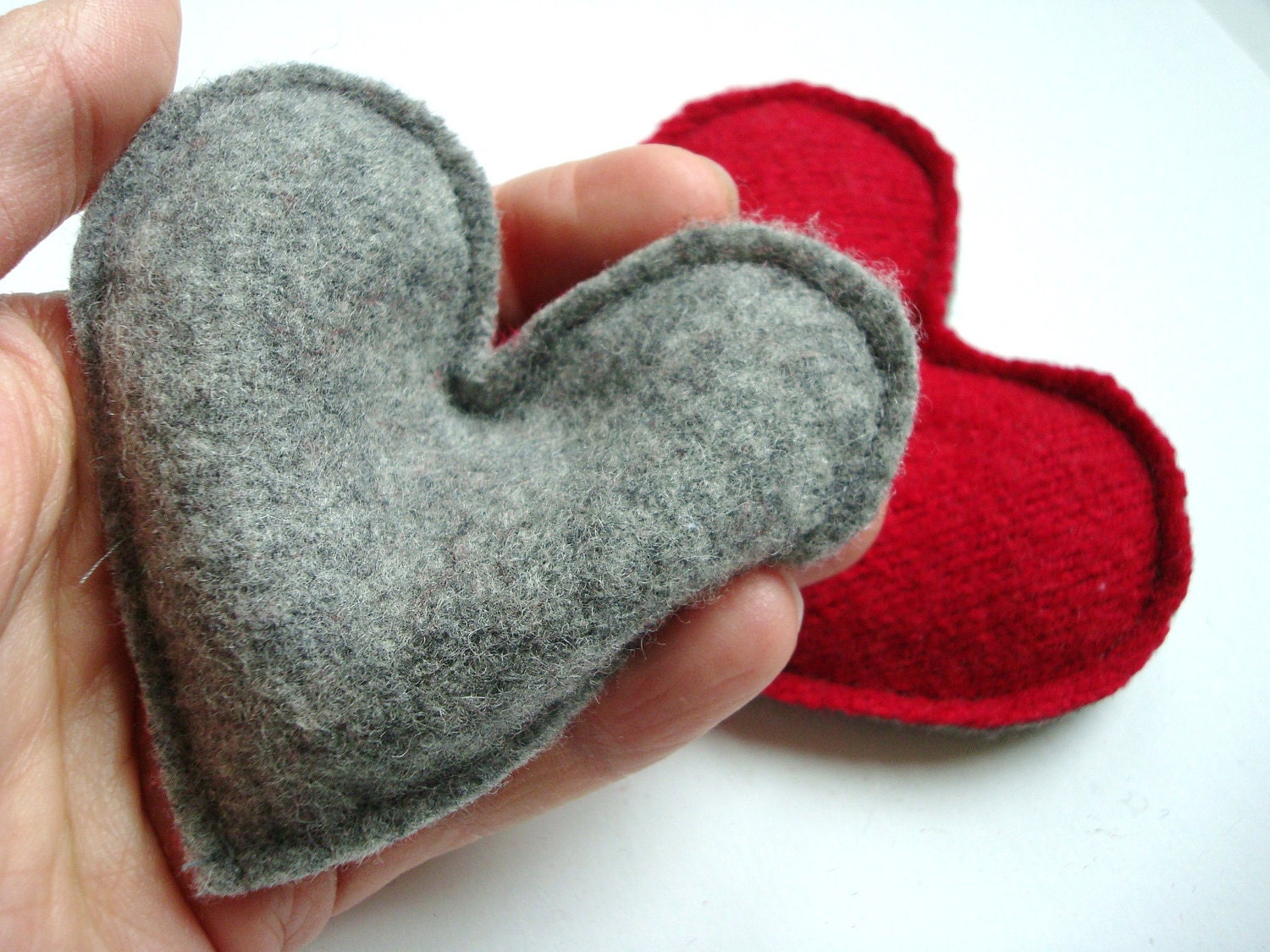 Pocket Hand Warmers Wool RED HOT HEARTS Eco Friendly Felted Wool One Pair