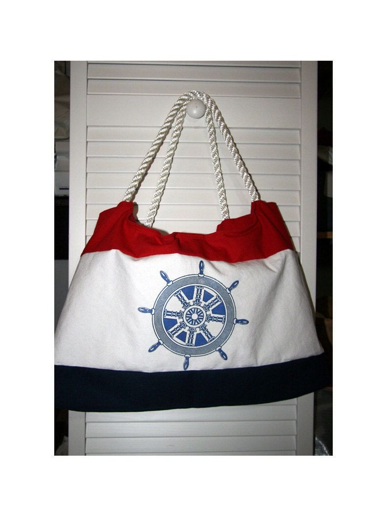 Beach Tote Bag Helm Ship's Wheel Nautical  With Rope Handles fully lined Red White Blue
