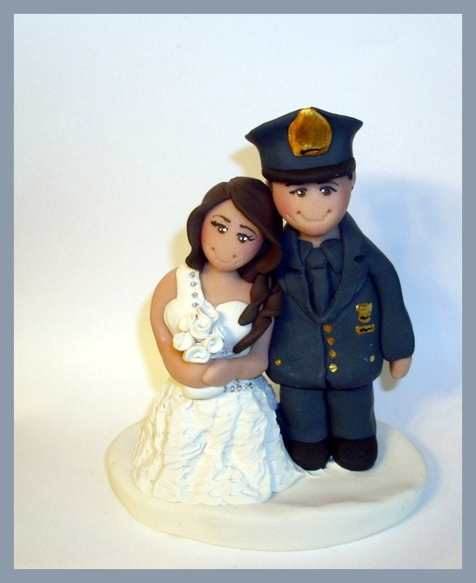 Policeman Cake Topper Police Wedding Cake Topper By Gingerbabies