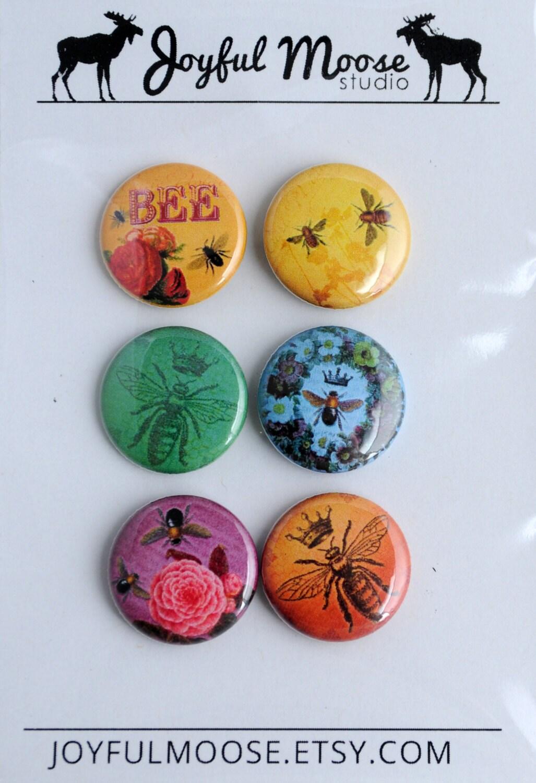 Scrapbook Flair Badges Vintage Epherma Bees Roses Crowns - JoyfulMoose