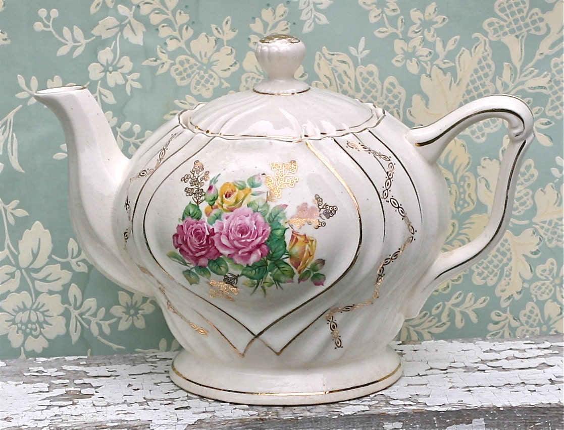 Vintage Musical Teapot Japan Tea For Two Shabby By Ivorybird
