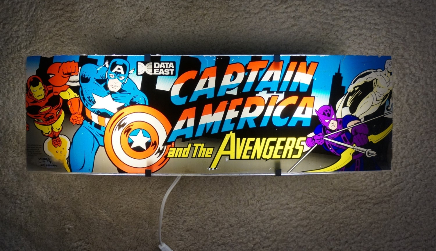 Original Captain America and The Avengers Arcade Marquee Wall Light - ArcadeLights