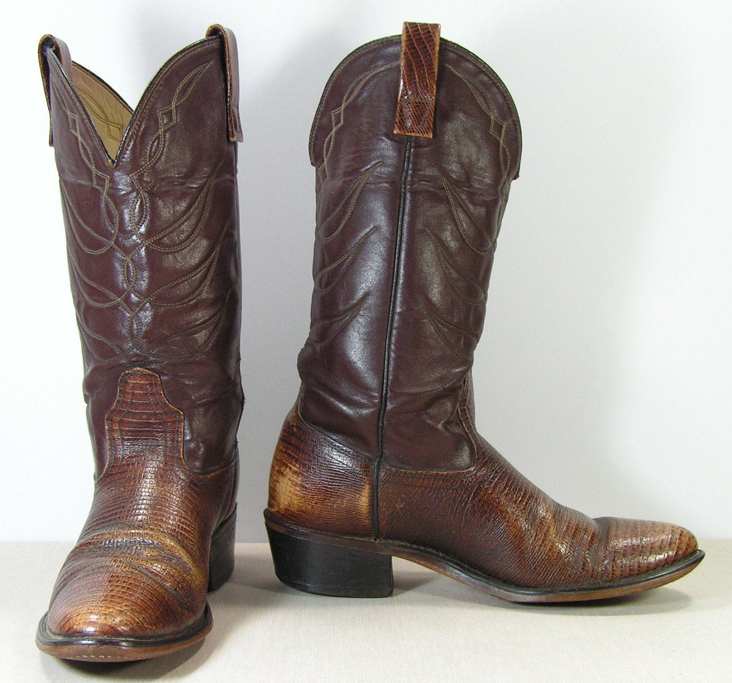 acme cowboy boots mens 9 d brown western by vintagecowboyboots