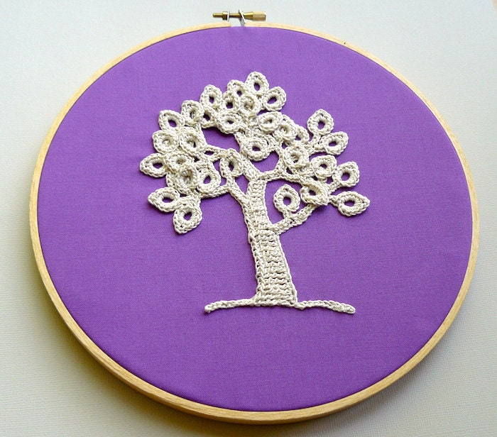 Embroidery Hoop Art Wall Hanging -- Crochet Tree at Dusk