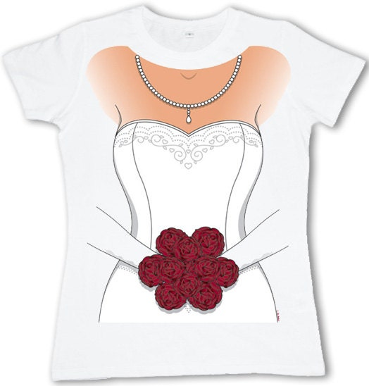 Ladies Tshirt Bride In Wedding Dress By Theredcaboose On