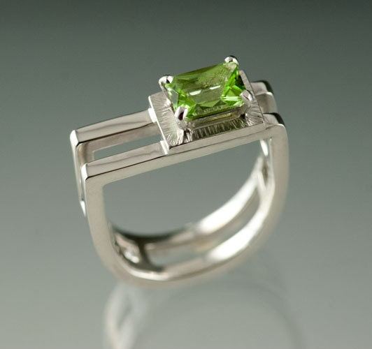 Emerald cut Peridot on 2 Stirup shaped double Sterling Silver ring - Prong set - JenLawlerDesigns