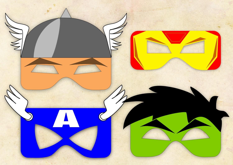 Superhero inspired masks 4 instant digital by klikidesigns for Avengers mask template