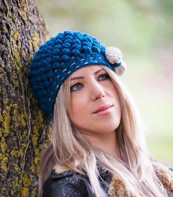 Crocheted Woman's  Beanie with Side Bow