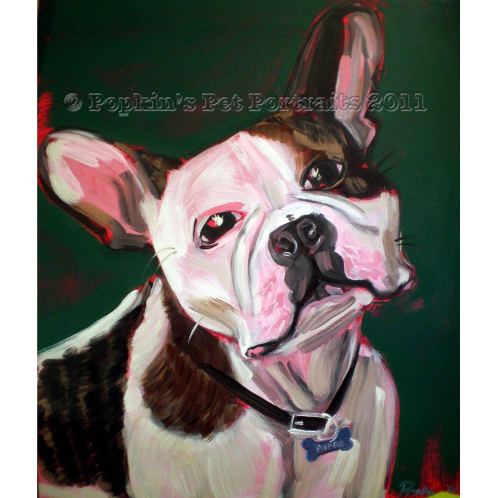 French Bulldog pet portrait, Pierre-  Frenchie- Signed archival Giclee Print 8x10