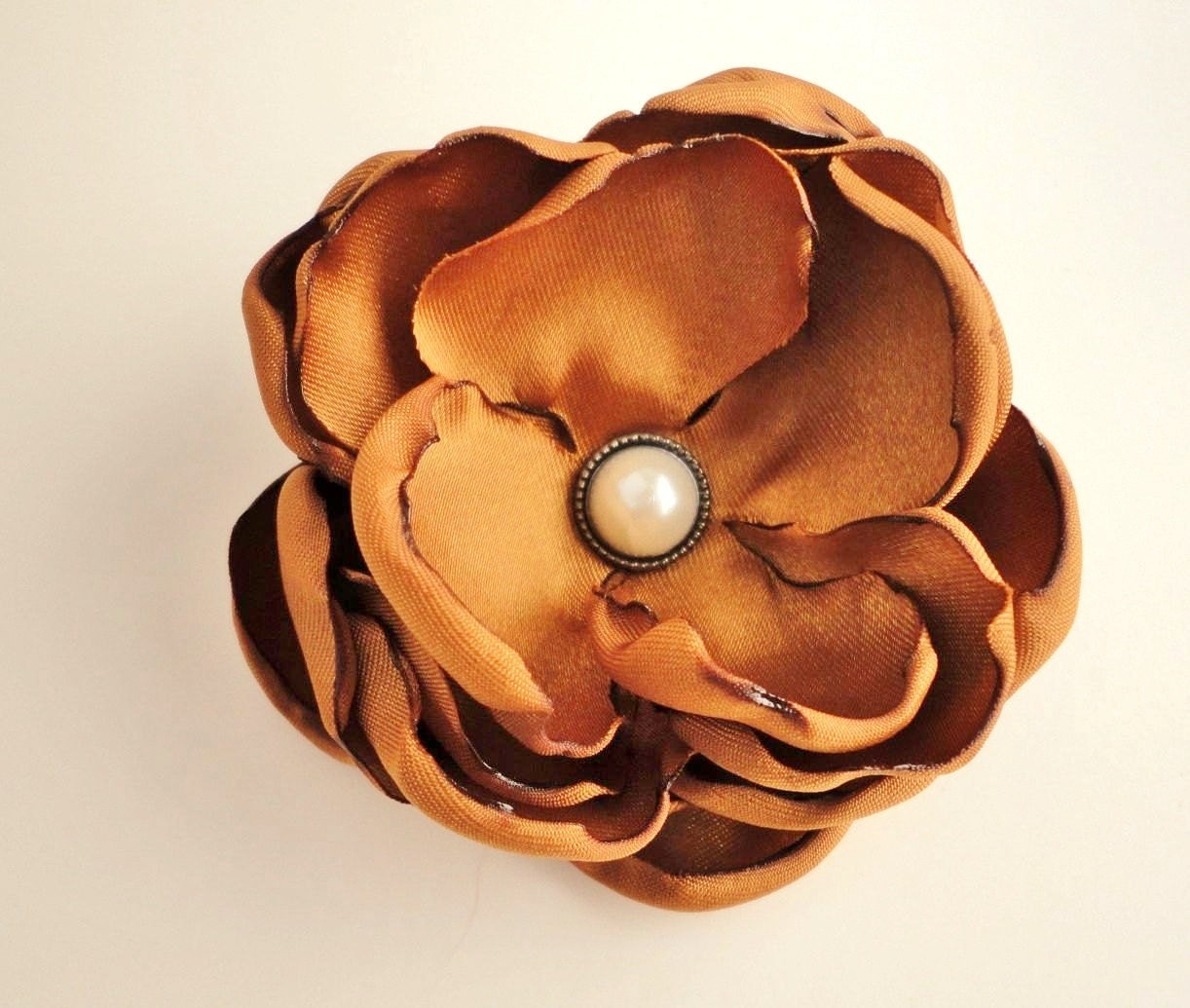 Orange Fabric Flower Hair Clip, Rustic Fall Autumn Wedding  Bridesmaids Bridal, Pumpkin Spice, Amber Copper