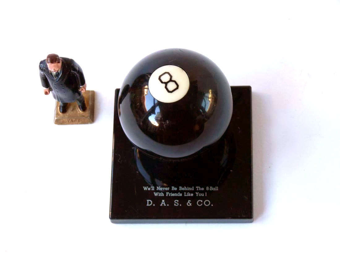 Vintage 8 ball paperweight, Eight ball novelty desk accessory - ProfessorTiny