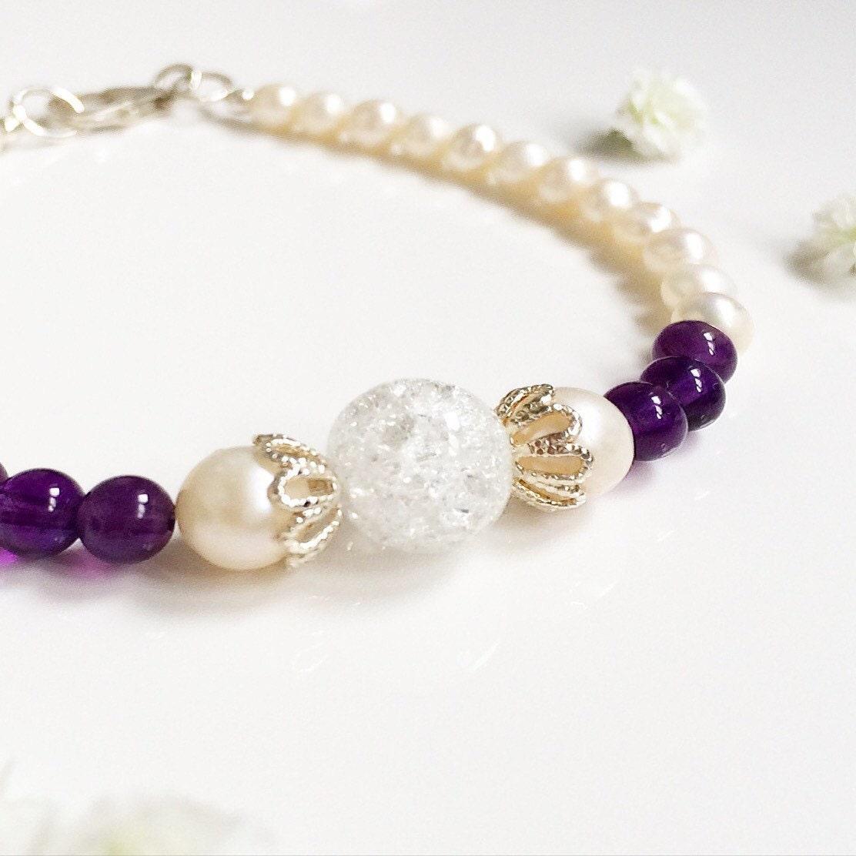 Freshwater pearl bracelet  Amethyst bracelet  Bridal bracelet  Bridesmaid bracelet  Birthstone bracelet  Pearl bracelet  Amethyst
