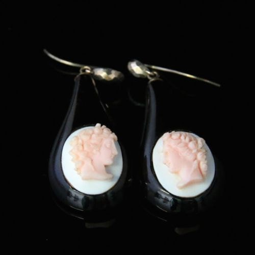 Antique Victorian Whity Jet Cameo Coral Earrings