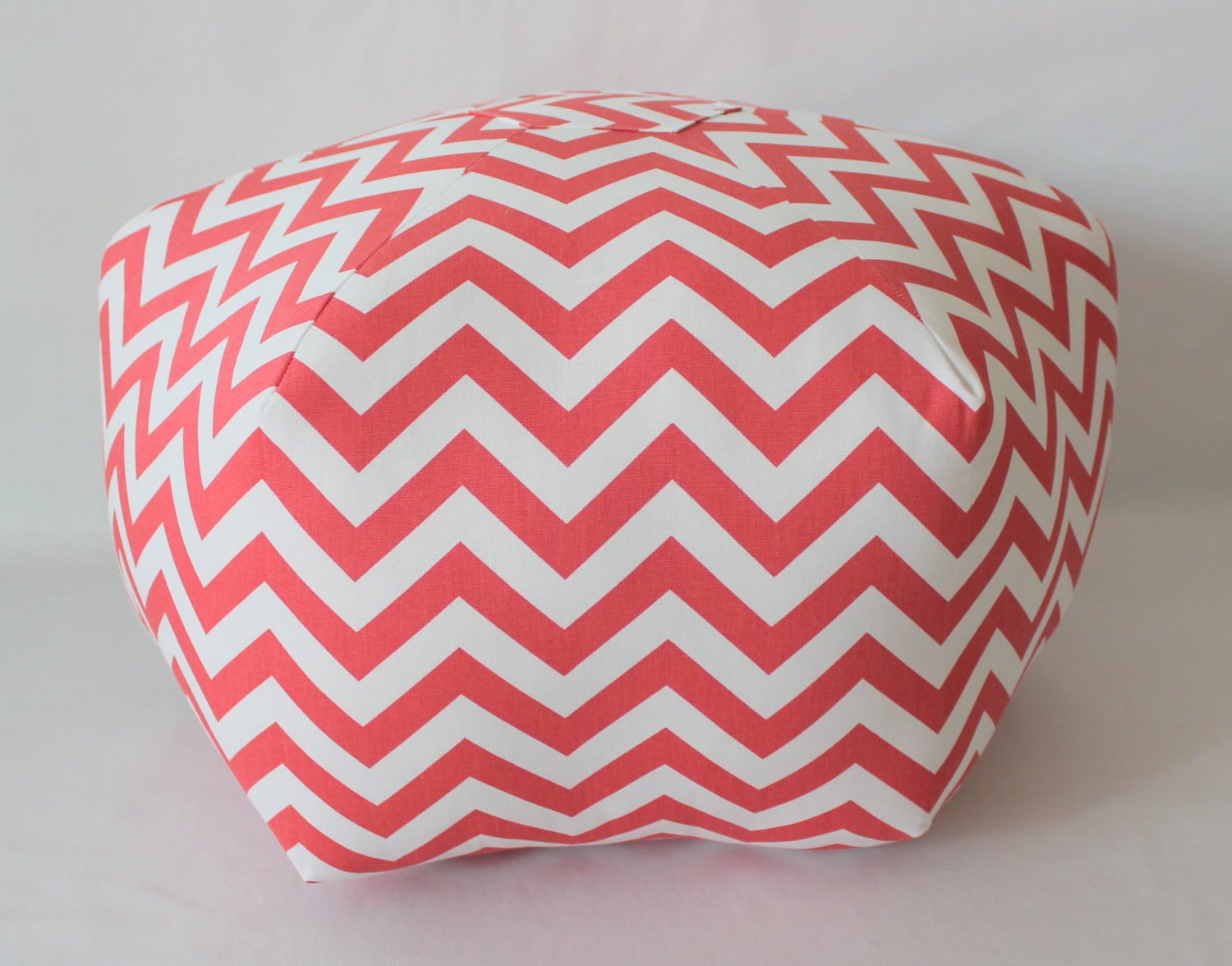 24 Ottoman Pouf Floor Pillow Coral White Twill Zig Zag By