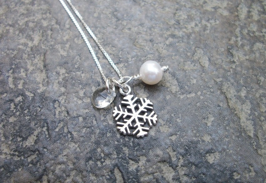 Sterling Snowflake Necklace - Winter Wedding Inspired - Symbol of Purity - Freshwater Pearl, Crystal Teardrop - Great Bridal Party Gift - allstrungout1