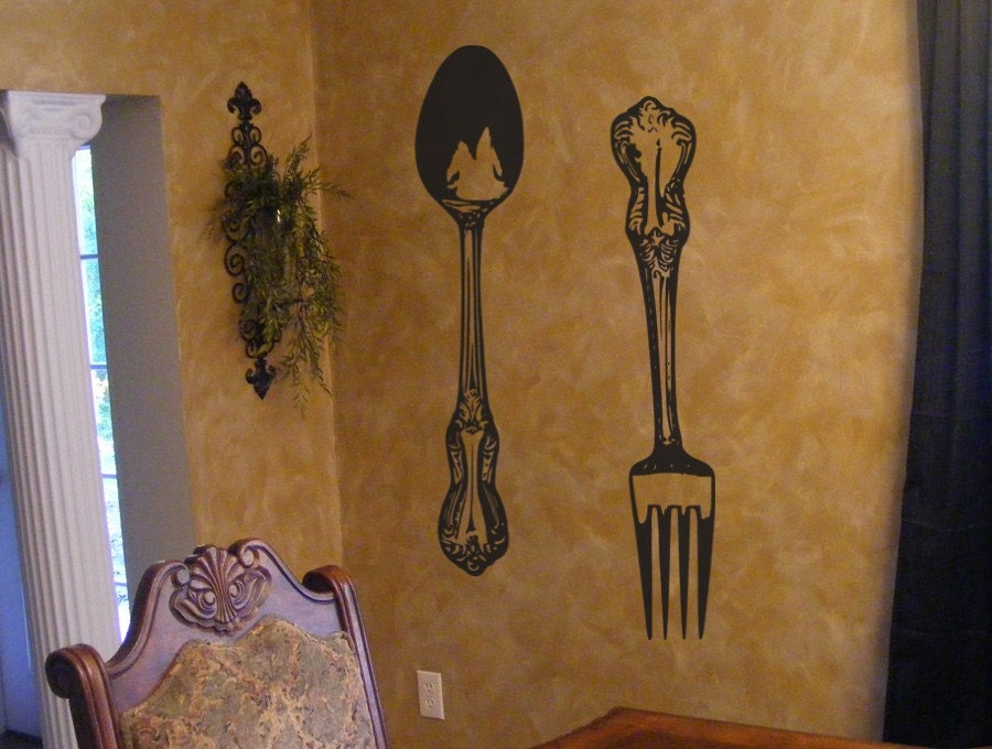 Big Fork And Spoon Vinyl Wall Decal Decor By Householdwords