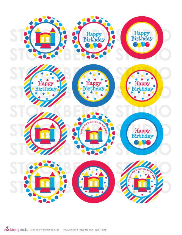 2 inch bounce house printable cupcake toppers by for New home cupcake decorations
