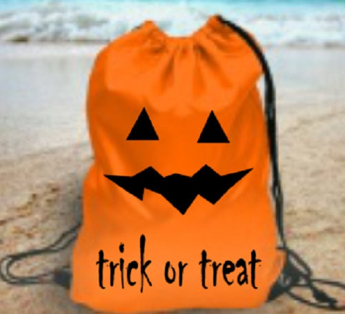 Halloween pumpkin face jack o lantern kids gym school pe bag trick or treat