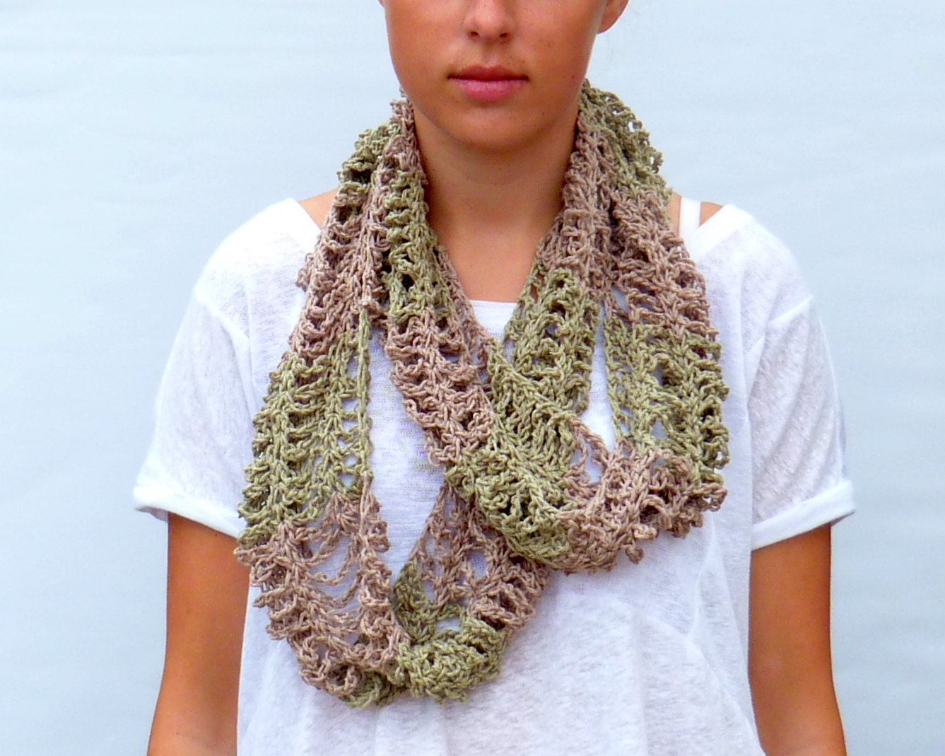 Green and Brown Infinity Scarf Cowl Crochet  Eco Accessory - imynda
