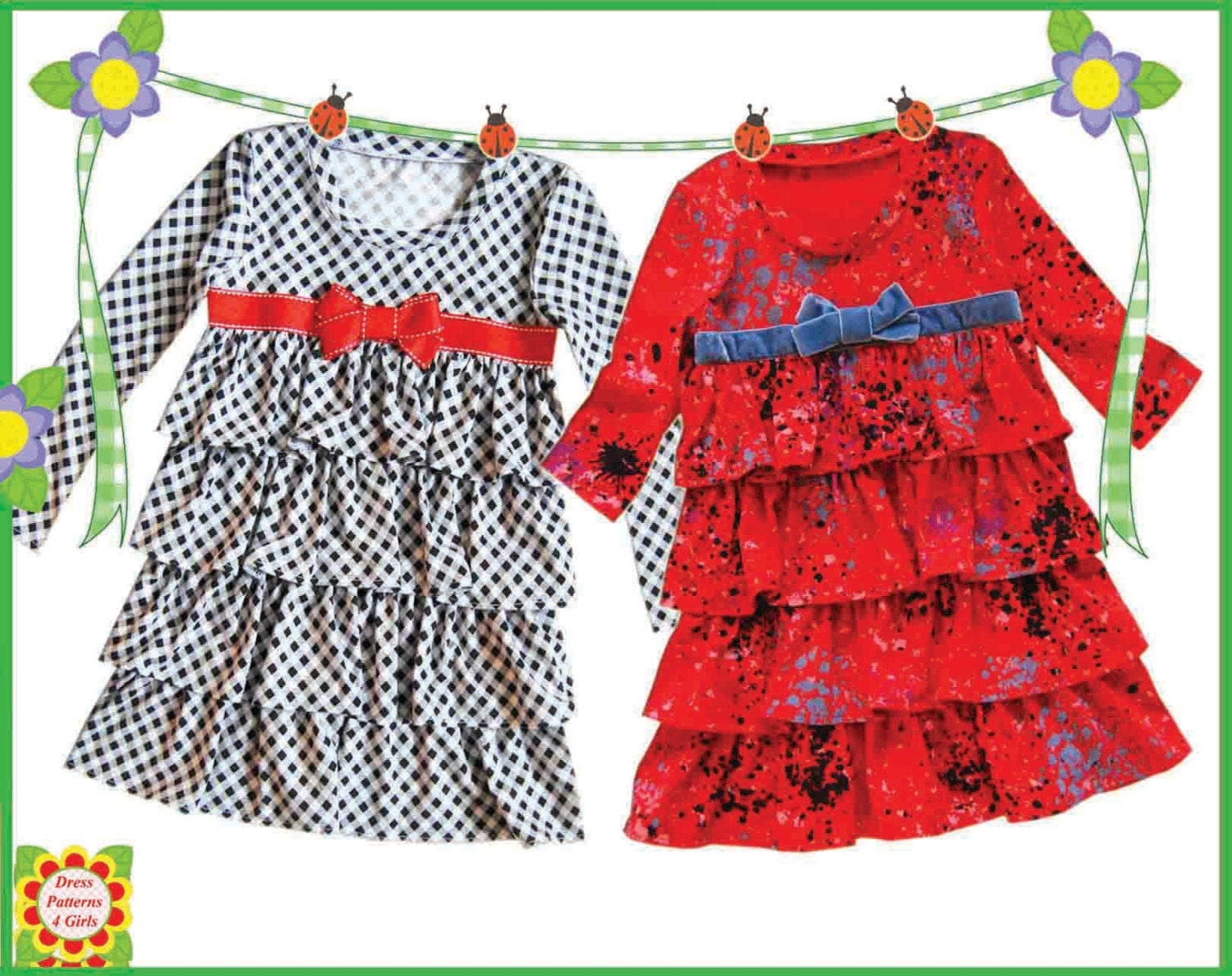 Knit Dress Sewing Pattern : Sugar & Spice Knit Girls DRESS PATTERNS by DressPatterns4Girls