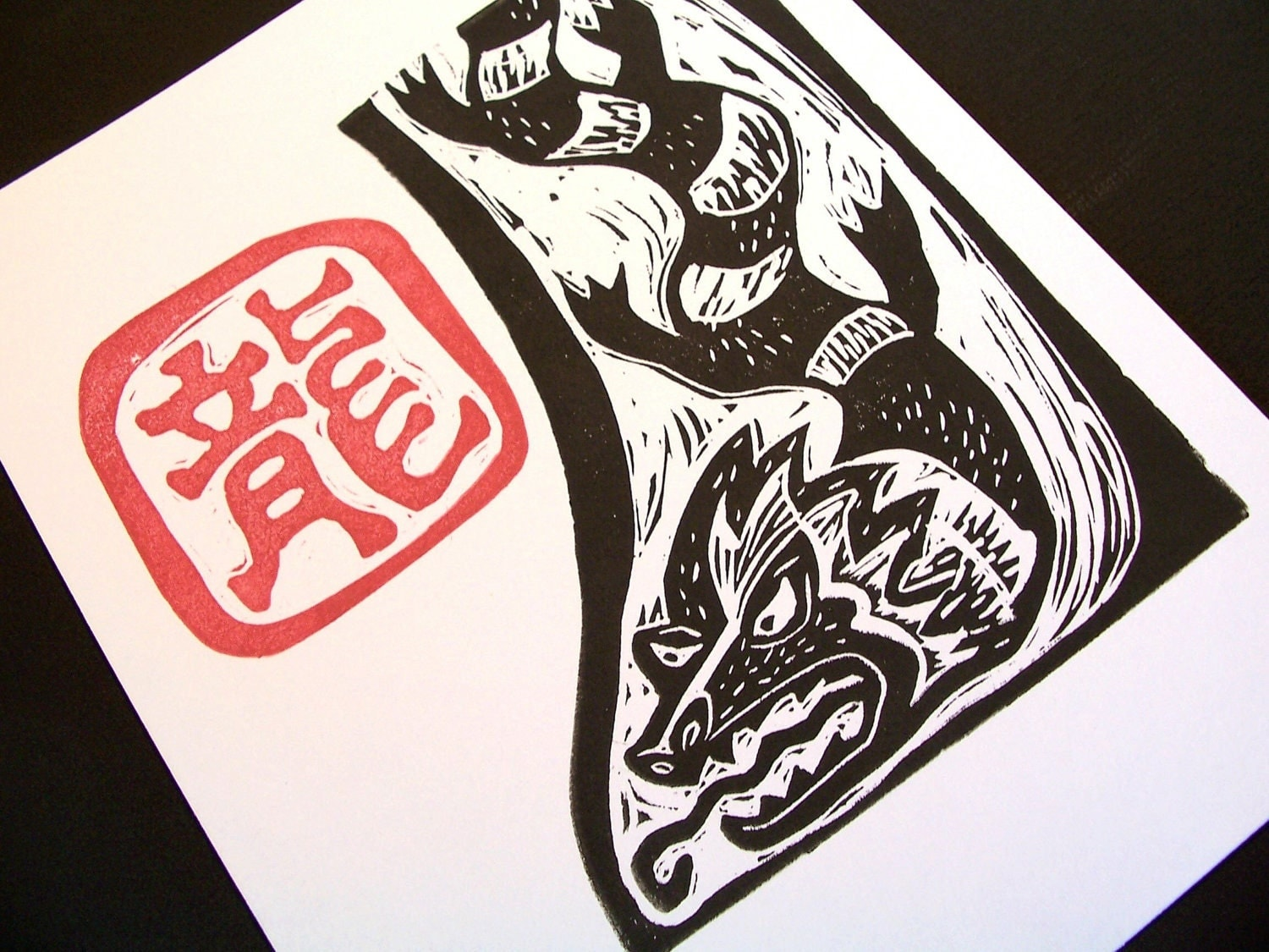 Happy Chinese New Year Dragon Linocut original hand printed limited edition