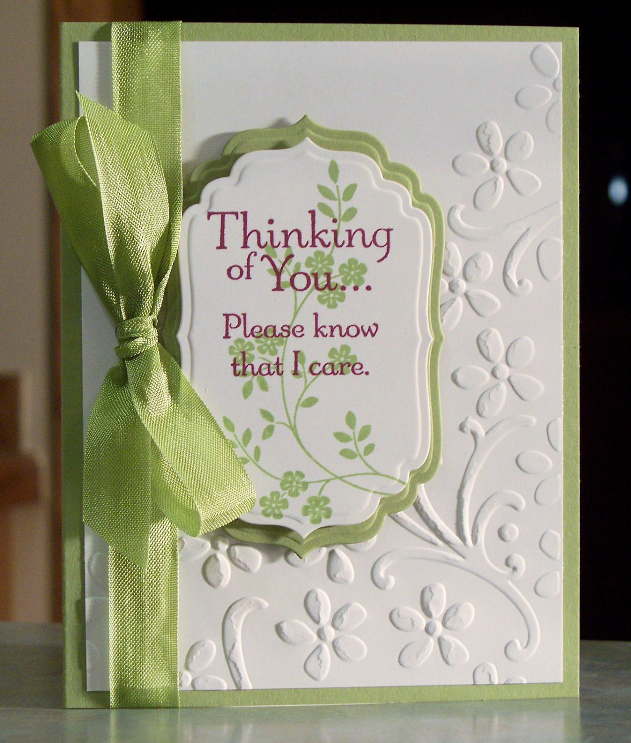 Handmade Sympathy Card Stampin Up Thoughts By Whimsyartcards