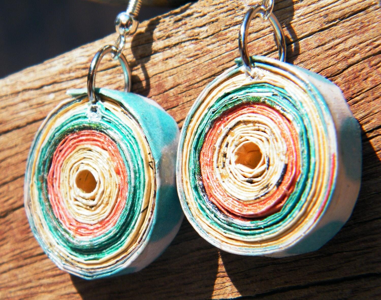 Orange, Teal, Yello, & White Magazine Earrings - juleseveland
