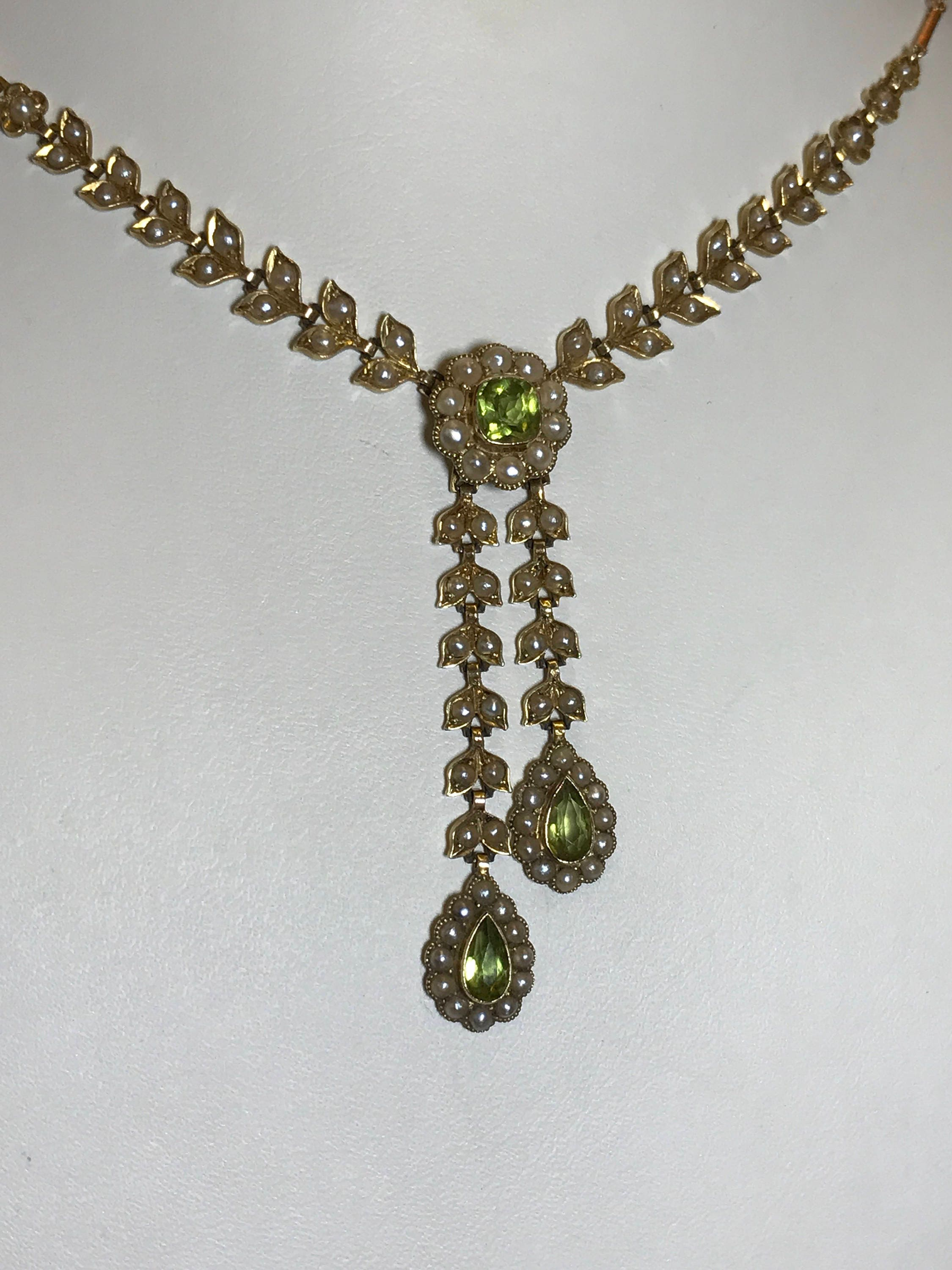 Victorian antique 15k carat gold seed pearl negligee necklace pendant olivine peridot poss edwardian