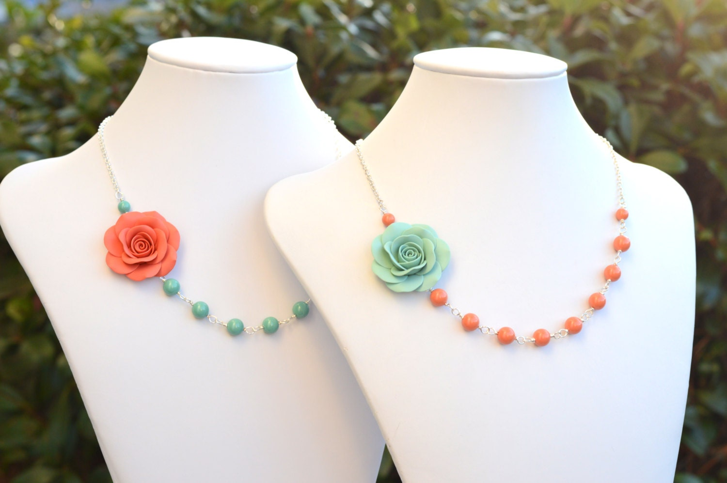 FREE EARRINGS Dusty Mint Rose and Coral Swarovski Pearls, Coral Orange Rose and Jade Green Swarovski Pearls, Mint and Coral Flower Necklace