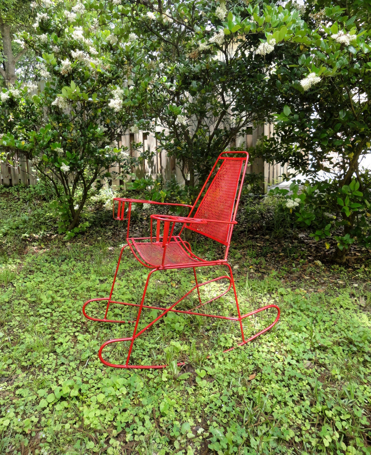 Vintage Metal Outdoor Rocking Chair by RewindHomeInteriors on Etsy